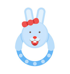 pretty rattle bunny kids rabbit toys vector image