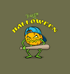 pumpkin character with a baseball bat and a cap vector image