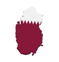 Qatar map with flag 3d vector