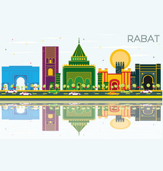 Rabat morocco skyline with color buildings blue vector