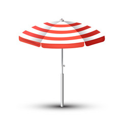 Realistic beach umbrella set red and white design vector