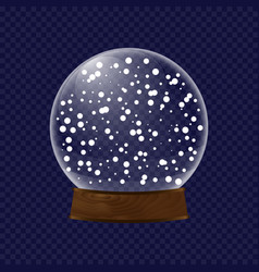 realistic transparent snow globe vector image