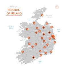 republic of ireland map with administrative vector image