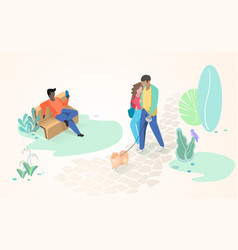 resting people in city park flat concept vector image