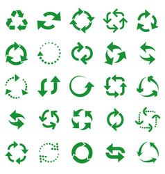 reusable arrows green recycle arrow recycling vector image