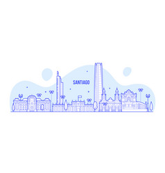 santiago skyline chile city buildings line vector image