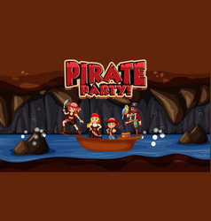 scene with pirate and crews in small boat and vector image