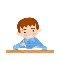 Schoolchild writes in a notebook vector