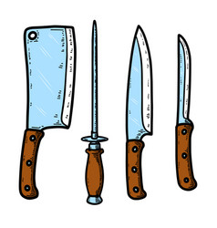 set kitchen knives isolated on white vector image