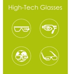 Set of high-tech glasses simple icons vector