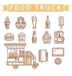Set of linear icons street food vector