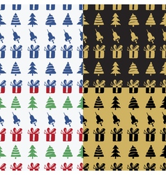 Set Seamless patterns bells boxes and fir-trees vector image