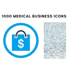 Shopping Bag Icon with 1000 Medical Business vector image