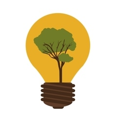 silhouette contour bulb with tree inside vector image