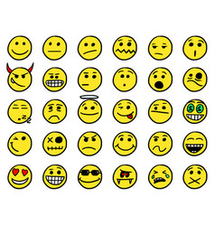 Smiley hand drawings icon set01 in yellow color vector