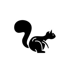squirrel black icon sign on isolated vector image