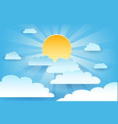 Sun and cloud paper cut vector