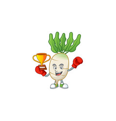 Super cool boxing winner daikon in mascot cartoon vector