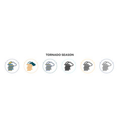 tornado season icon in filled thin line outline vector image