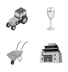 Tractor glass and other monochrome icon in vector