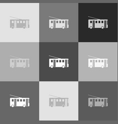 trolleybus sign grayscale version of vector image