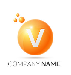 V letter splash orange dots and circle bubble vector