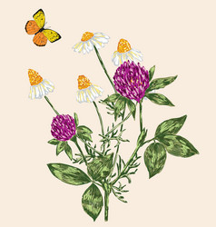 Wildflowers and butterfly vector