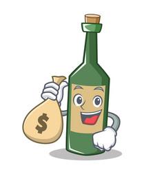 With money bag wine bottle character cartoon vector