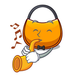 With trumpet hobo bag outline on image cartoon vector