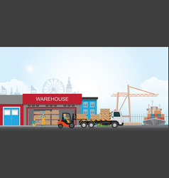 workers loading truck with packaged goods vector image