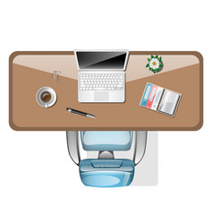 workplace top view office tools on table vector image