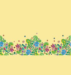 yellow folk art border with bellflower vector image