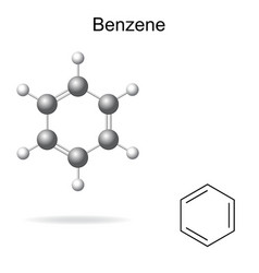 Chemical formula and model of benzene vector image vector image
