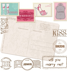 set of wedding postage stamps vector image