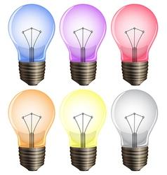 Six light bulbs vector