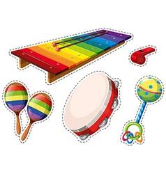 Sticker set of musical instrument vector image