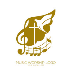 The cross of jesus the treble clef and dove vector