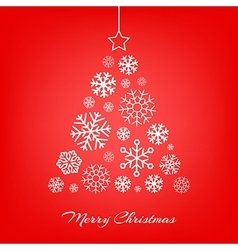 Christmas tree made from snowflakes on red vector image