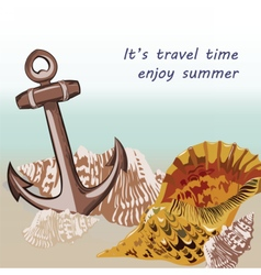 Nautical marine theme card vector