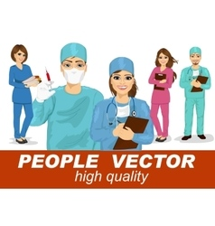 people with doctors surgeons and nurses vector image vector image