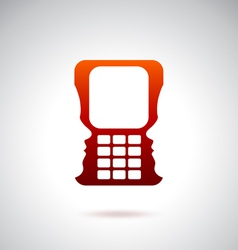 Cell phone and technology over red vector image vector image