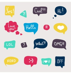 Colorful questions speech bubbles set in flat desi vector image