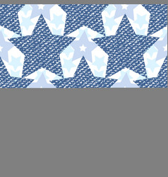 denim jeans texture seamless pattern with stars vector image vector image