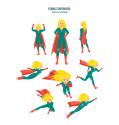 female superhero in different situations and poses vector image