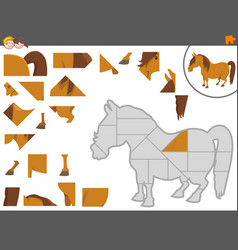 Jigsaw puzzle game with pony vector