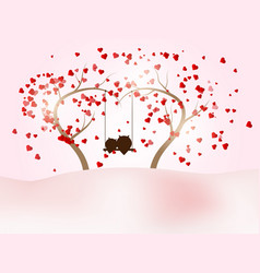 romantic valentines day with couple owl on swing vector image