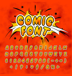 bright colorful comics font with halftone vintage vector image