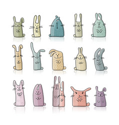 funny rabbits collection for your design vector image vector image