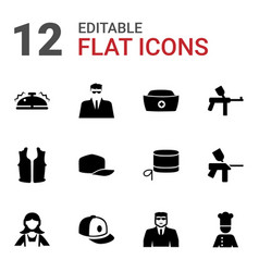 12 uniform icons vector