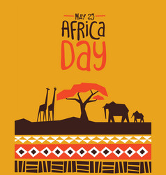 Africa day card with wild safari animals vector